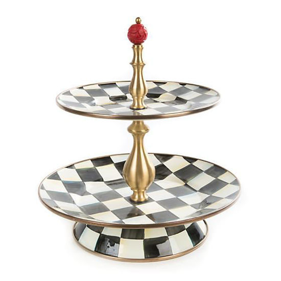 Courtly Check Enamel Two Tier Sweet Stand by MacKenzie-Childs