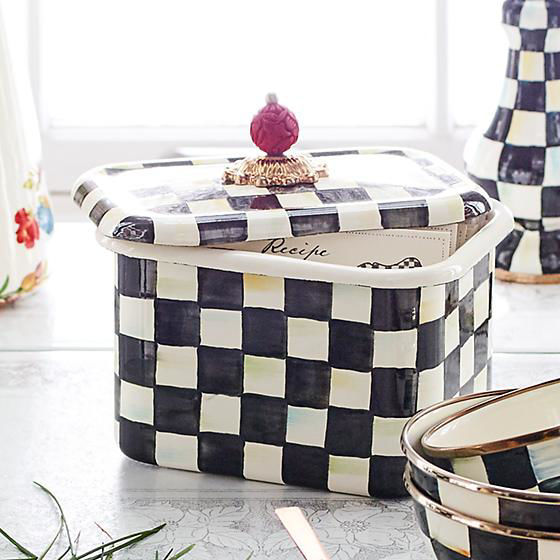 Courtly Check Enamel Recipe Box by MacKenzie-Childs