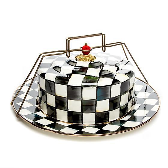 Courtly Check Enamel Cake Carrier by MacKenzie-Childs