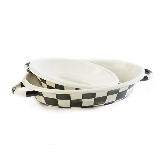 Courtly Check Enamel Oval Gratin Dish - Small by MacKenzie-Childs