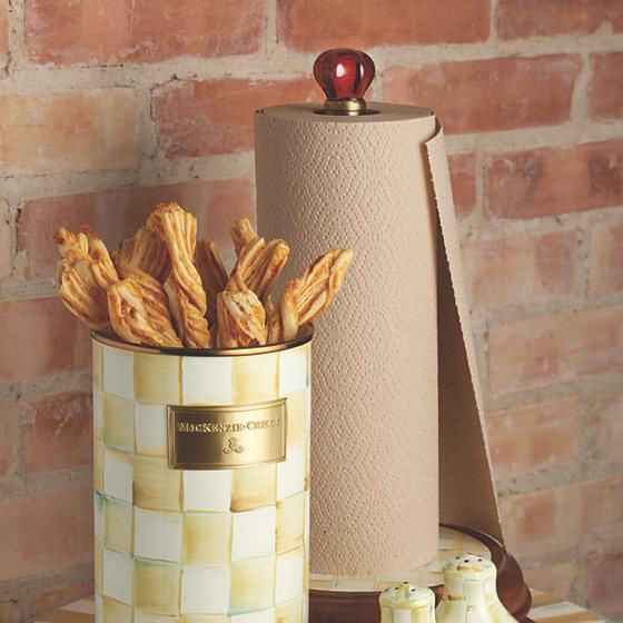 Parchment Check Enamel Utensil Holder by MacKenzie-Childs