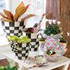 Courtly Check Enamel Garden Pot - Medium by MacKenzie-Childs