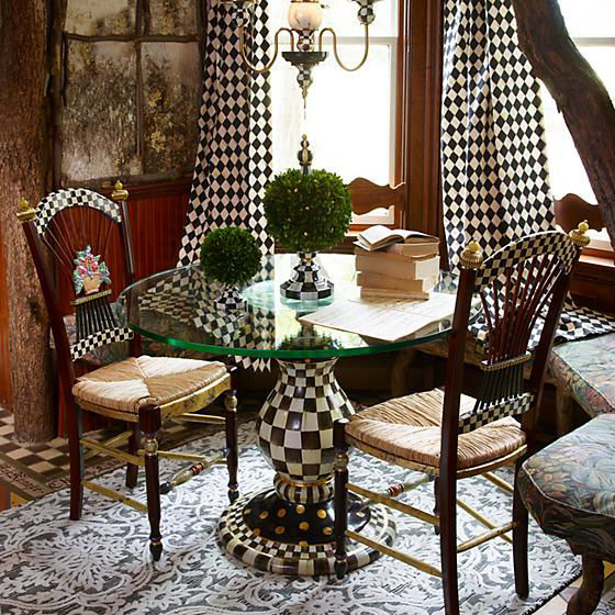 Courtly Check Pedestal Table Base by MacKenzie-Childs