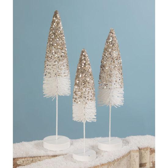 Platinum Glitter Flocked Bottle Brush Trees by Bethany Lowe