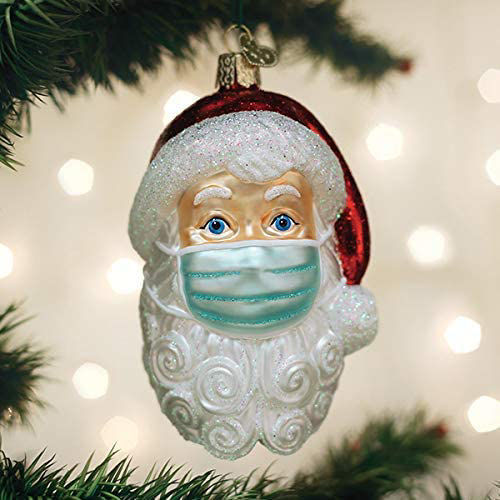 Santa With Face Mask Ornament by Old World Christmas