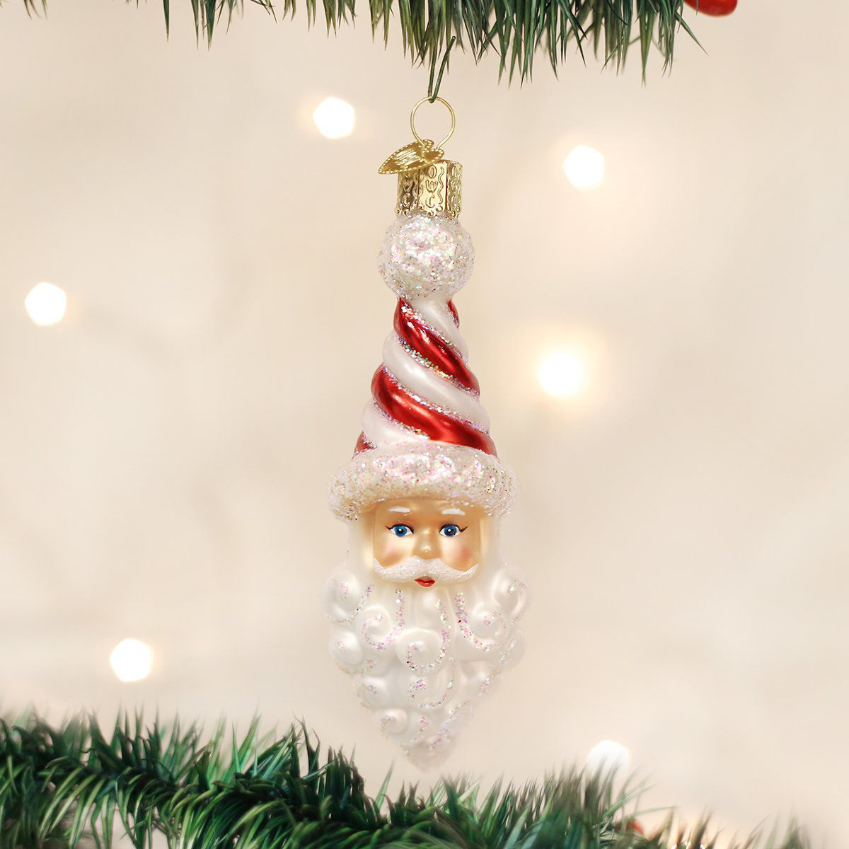 Peppermint Twist Santa Ornament by Old World Christmas
