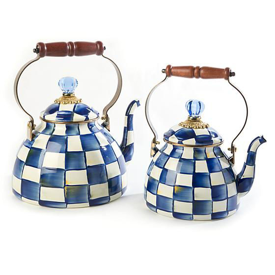 Royal Check Enamel Tea Kettle - 2 Quart by MacKenzie-Childs