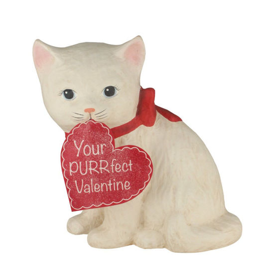 Purrfect Valentine Kitty Medium Paper Mache by Bethany Lowe Designs