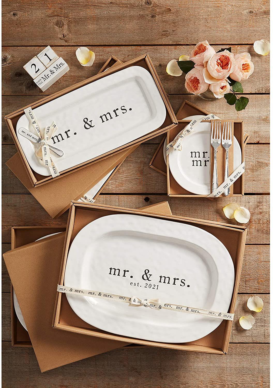 Mr & Mrs Cake Plate Set by Mudpie