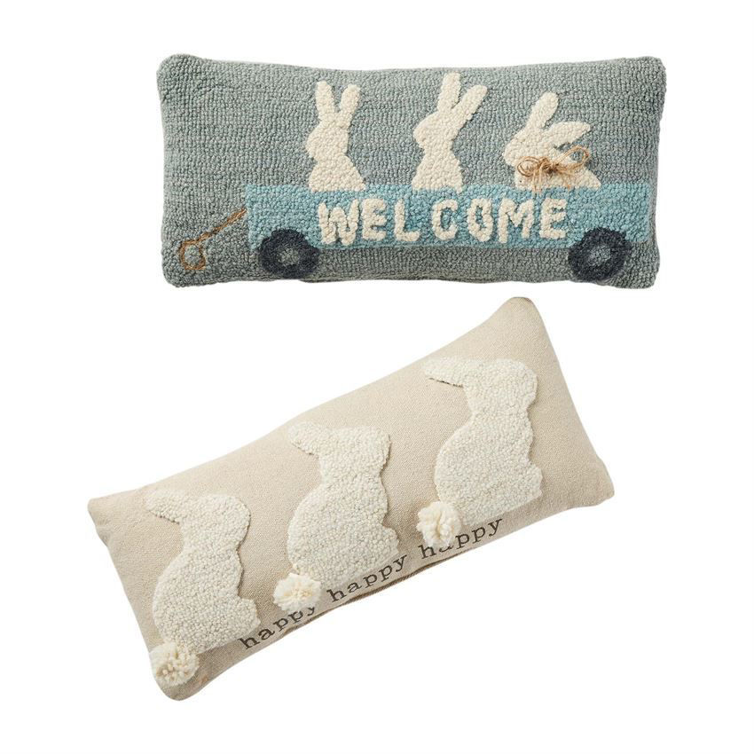 Bunny Hooked Pillows (Assorted) by Mudpie