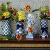 Royal Check Enamel Pedestal Vase by MacKenzie-Childs