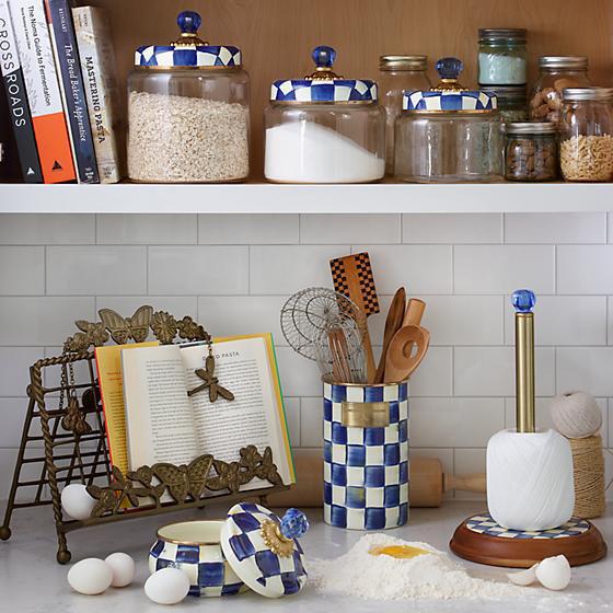 Royal Check Enamel Lid Kitchen Canister - Medium by MacKenzie-Childs