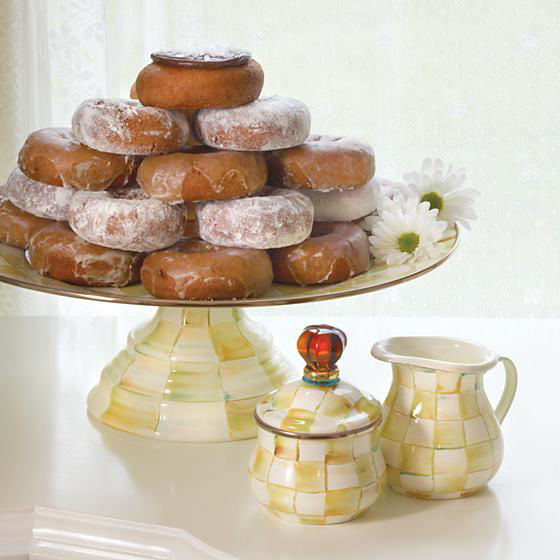 Parchment Check Enamel Lidded Sugar Bowl by MacKenzie-Childs