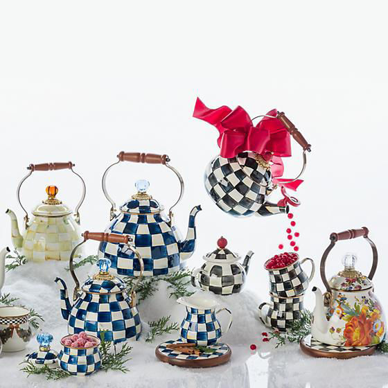Royal Check Enamel Lidded Sugar Bowl by MacKenzie-Childs