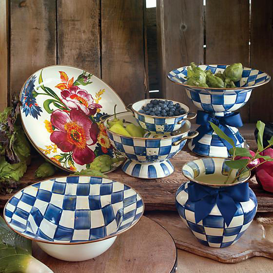 Royal Check Enamel Serving Bowl by MacKenzie-Childs