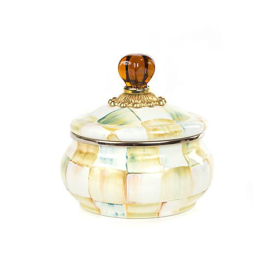 Parchment Check Enamel Squashed Pot by MacKenzie-Childs