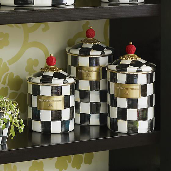 Courtly Check Enamel Canister - Medium by MacKenzie-Childs