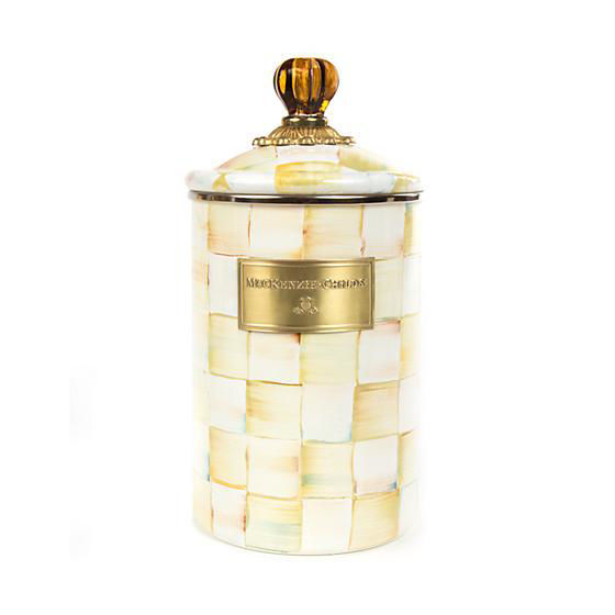 Parchment Check Enamel Canister - Large by MacKenzie-Childs