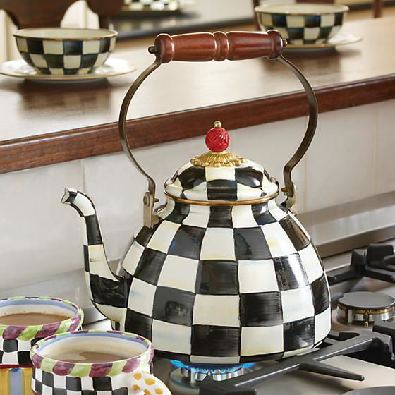 Courtly Check Enamel Tea Kettle - 3 Quart by MacKenzie-Childs
