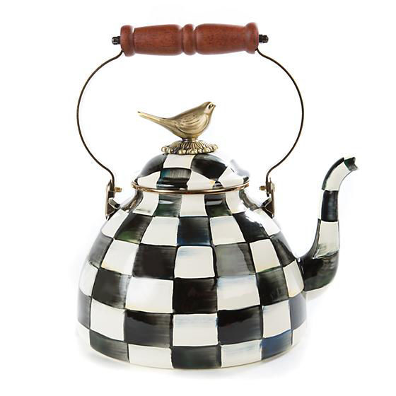 Courtly Check Enamel Tea Kettle with Bird - 3 Quart by MacKenzie-Childs