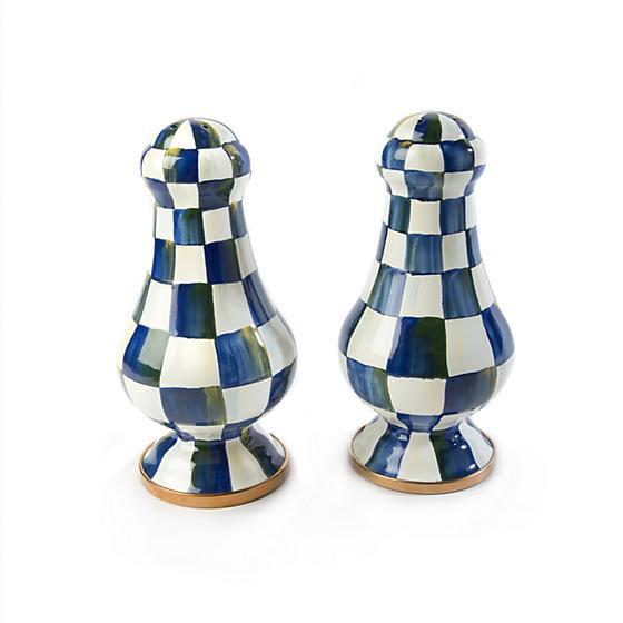 Royal Check Enamel Salt & Pepper Shakers - Large by MacKenzie-Childs