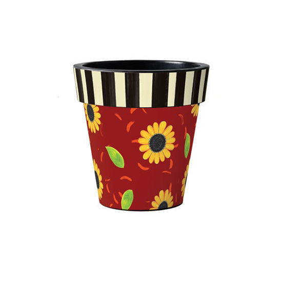 """Sunflower Leaves with Stripes 12"""" Art Planter by Studio M"""