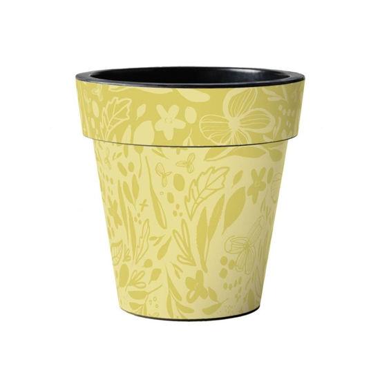"Yellow Pattern 15"" Art Planter by Studio M"