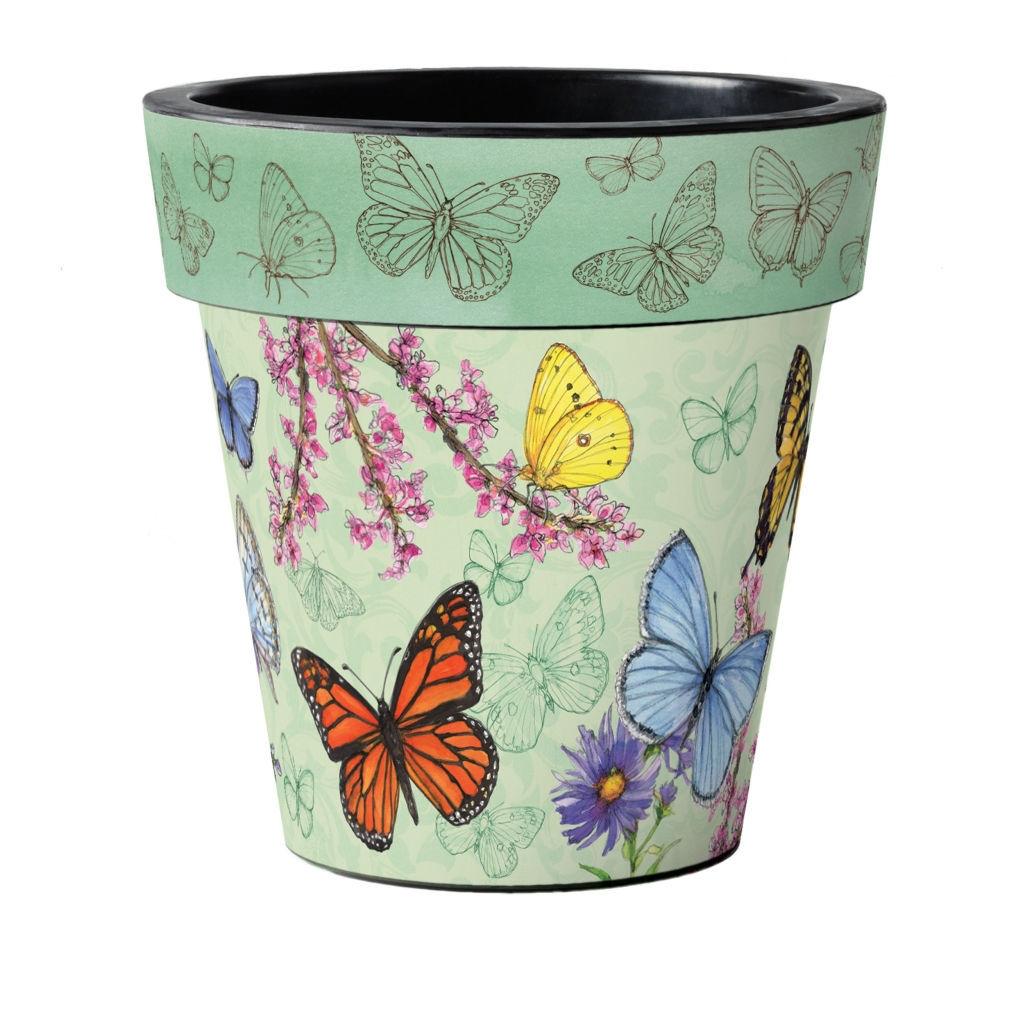 "Butterfly Dance Green 18"" Art Planter by Studio M"