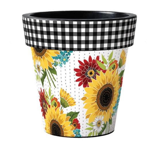 "Sunflower Checks  18"" Art Planter by Studio M"