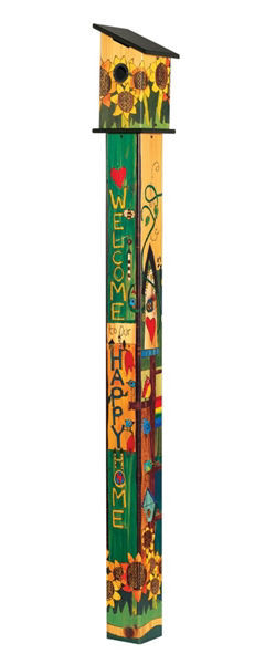 Sing Out Loud 6' Birdhouse  Art Pole by Studio M