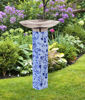 Garden Blues on Blue Bird Bath Art Pole with Stainless Steel Topper by Studio M