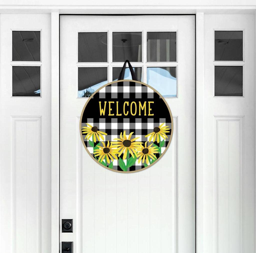 Checks and Yellow Daisy Door Decor by Studio M