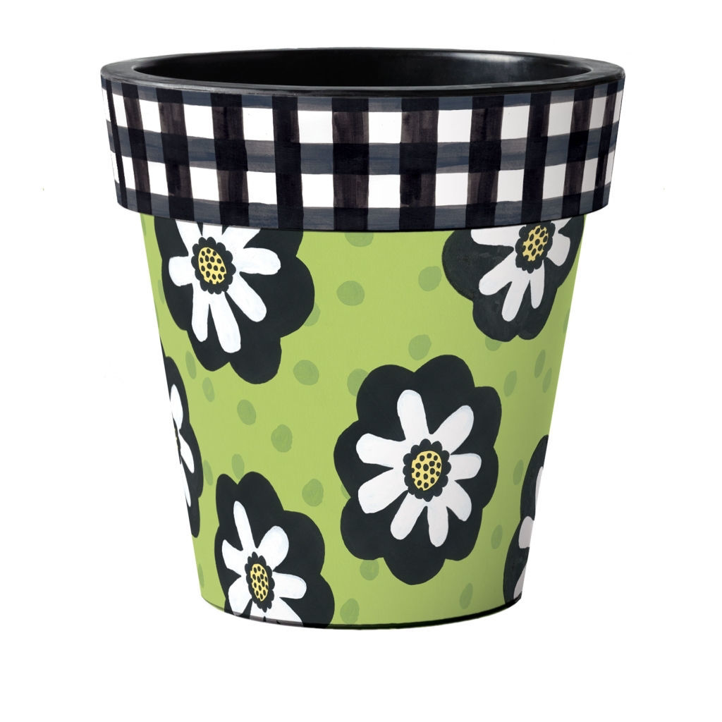 """Polka Dots and Flowers Green 18"""" Art Planter by Studio M"""