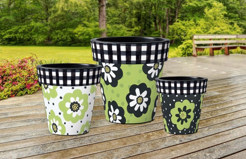 """Polka Dots and Flowers White 15"""" Art Planter by Studio M"""