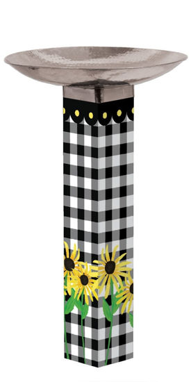 Checks and Yellow Daisies Bird Bath Art Pole with Stainless Steel Topper by Studio M