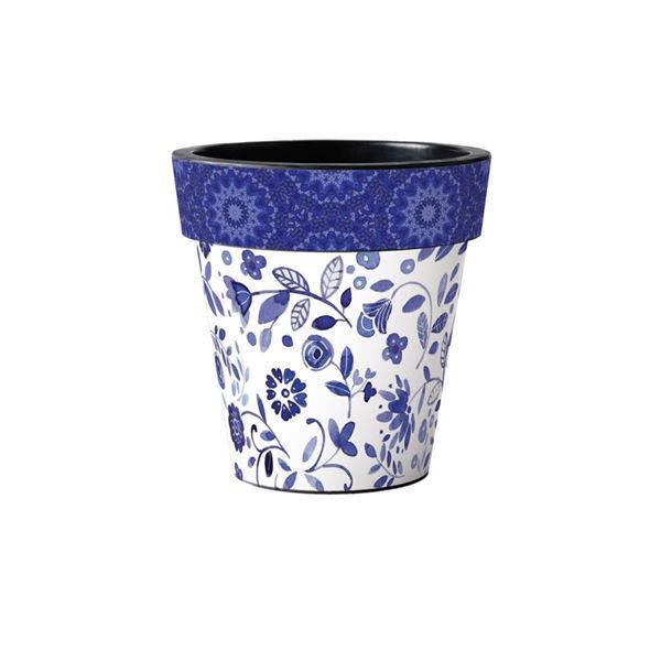"Garden Blues on White 12"" Art Planter by Studio M"