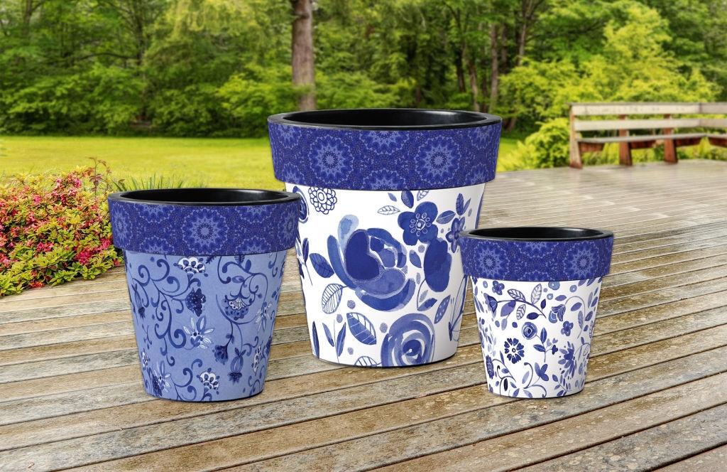 """Garden Blues and Butterflies 18"""" Art Planter by Studio M"""