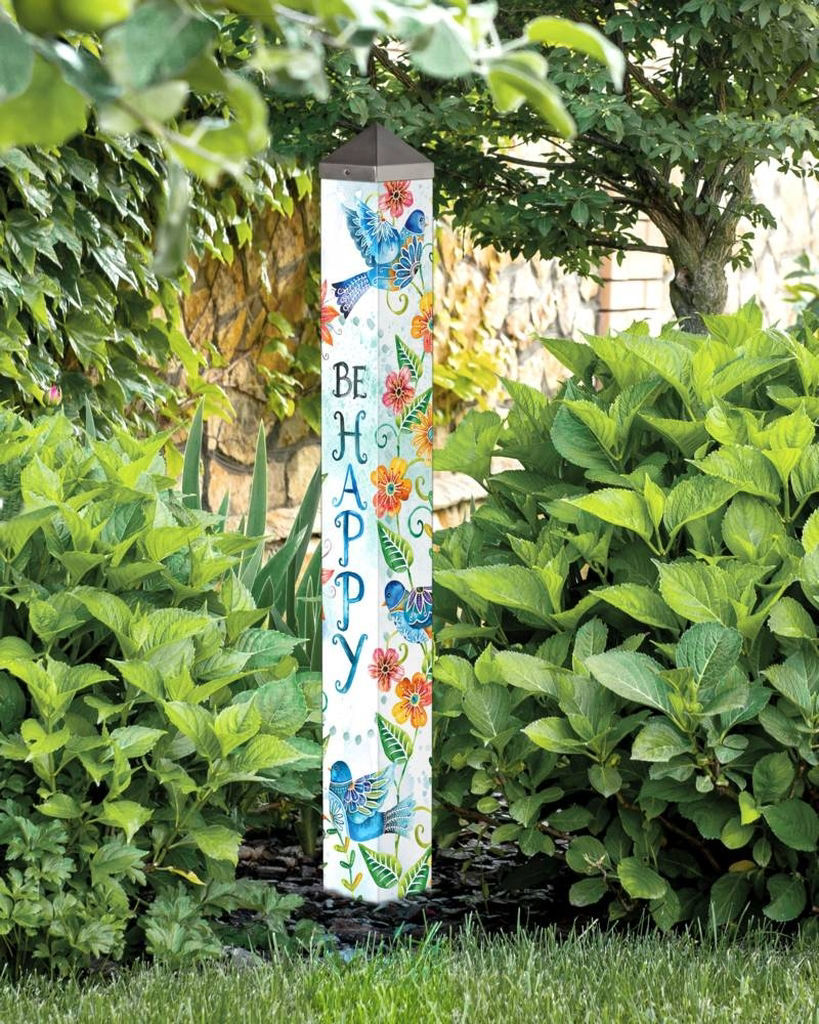 "Happy Bluebirds 40"" Art Pole by Studio M"