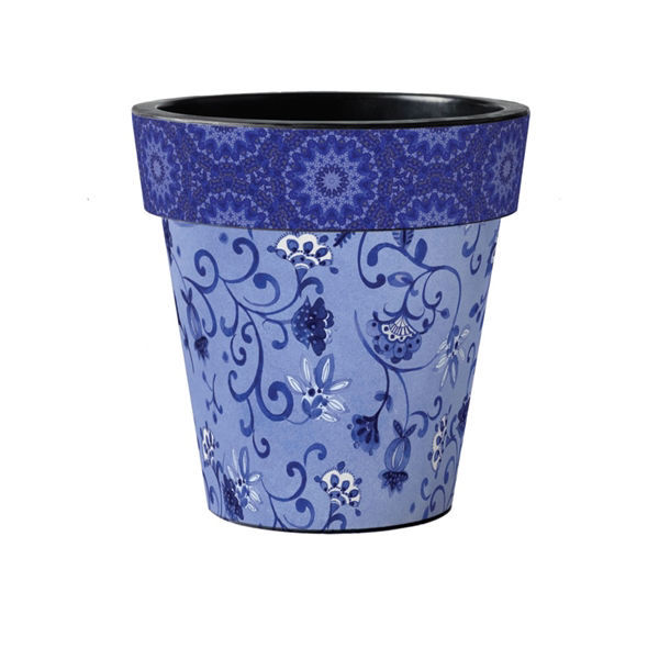 "Garden Blues on Blue 15"" Art Planter by Studio M"