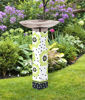 Polka Dots and Flowers Bird Bath Art Pole with Stainless Steel Topper by Studio M