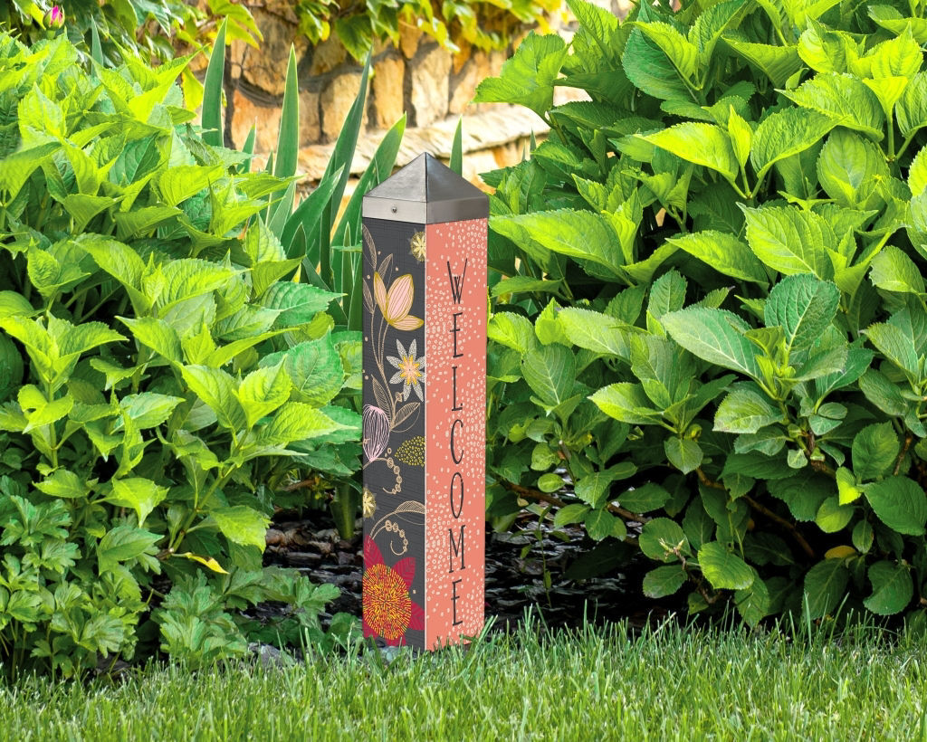 """Floral Welcome 20"""" Art Pole by Studio M"""