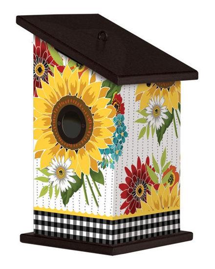 Sunflower Checks Birdhouse by Studio M