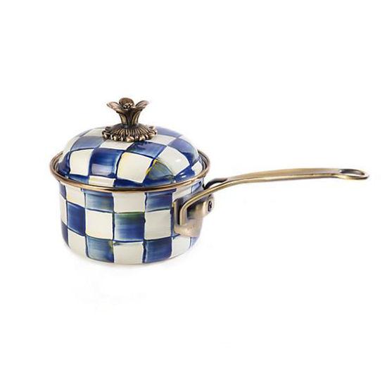 Royal Check Enamel 1 Qt. Saucepan by MacKenzie-Childs