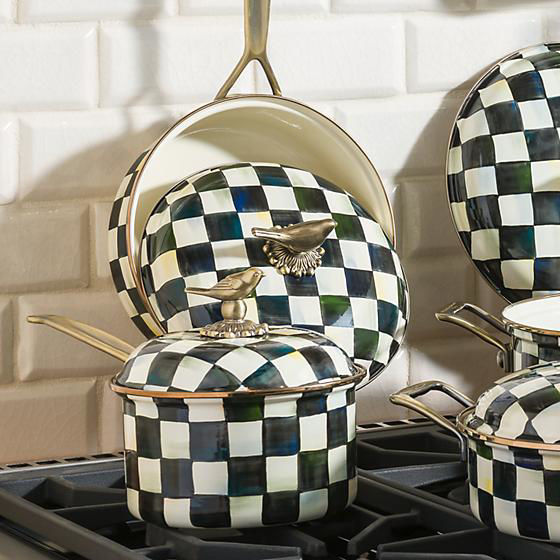Courtly Check Enamel 2.5 Qt. Saucepan by MacKenzie-Childs