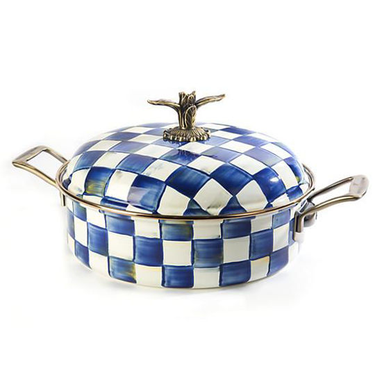 Royal Check Enamel 5 Qt. Casserole by MacKenzie-Childs