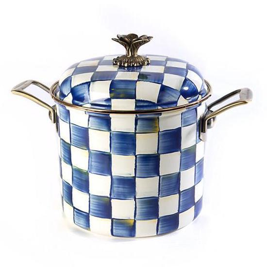 Royal Check Enamel 7 Qt. Stock Pot by MacKenzie-Childs