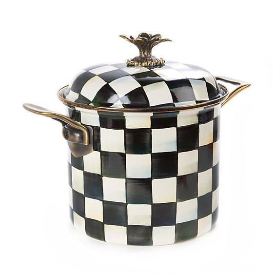 Courtly Check Enamel 7 Qt. Stock Pot by MacKenzie-Childs