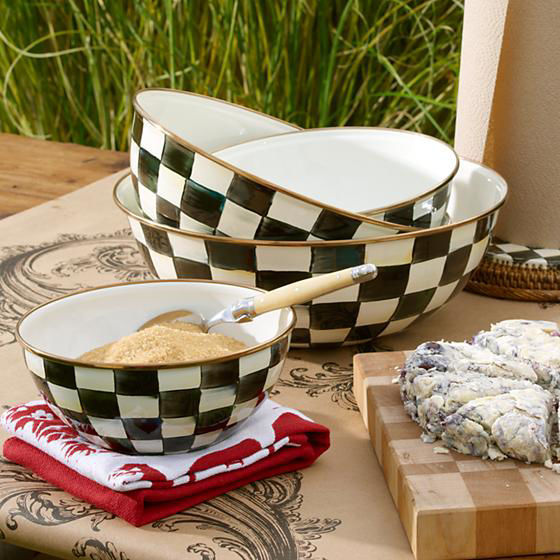 Courtly Check Enamel Everyday Bowl - Extra Large by MacKenzie-Childs