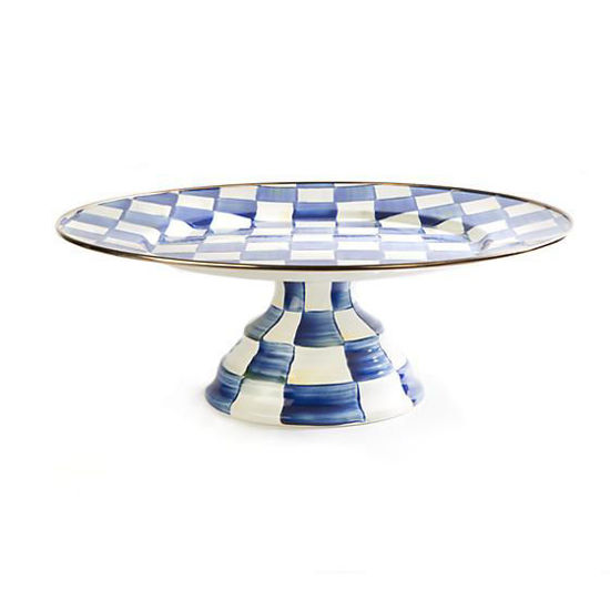 Royal Check Enamel Pedestal Platter - Large by MacKenzie-Childs