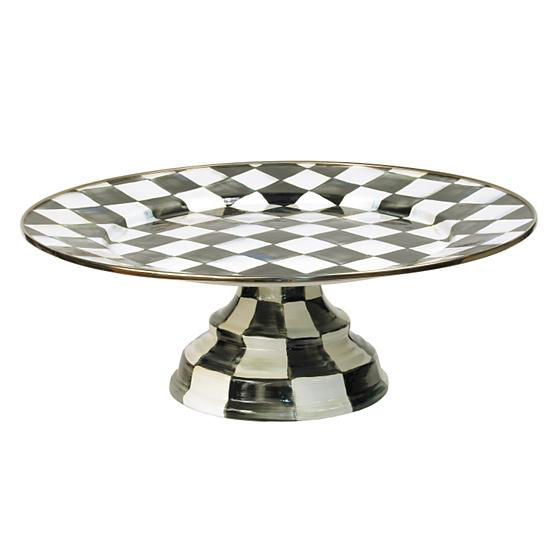 Courtly Check Enamel Pedestal Platter - Large by MacKenzie-Childs